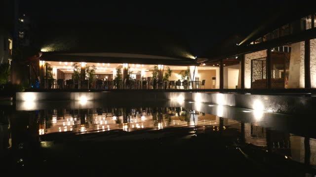 HD hotel pool at night