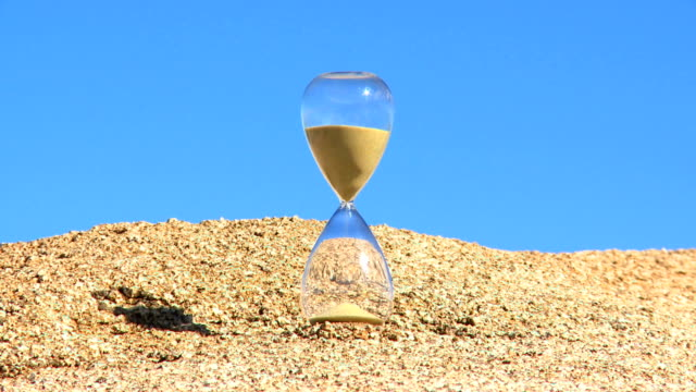 hour glass timlapse blue sky background video
