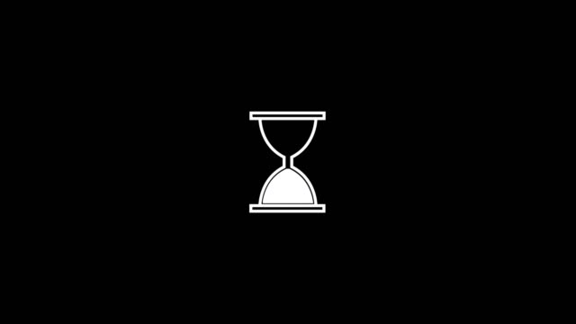 Video Hourglass waiting sign for computer programmes and mobile apps. Sand clock white icon design video animation.