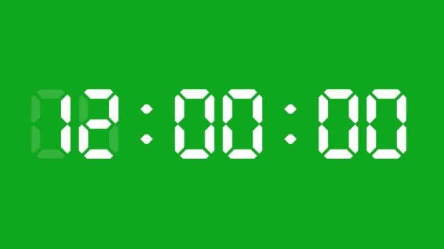 24時間デジタル時計アニメーション。あなたは毎時間の初めに停止することができます。シンプルは24の数字をリードしました。タイムカウンターシンボルとカウントダウンストックビデオ。 - 時計点の映像素材/bロール
