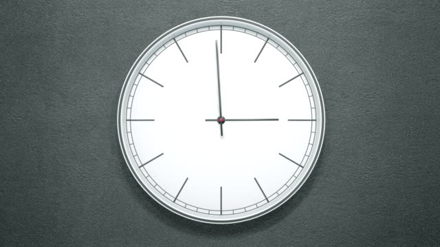 12 hours timelapse of modern minimalistic clock on dark wall.