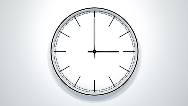 12 Hours Timelapse Of Modern Minimalistic Clock On White Wall.