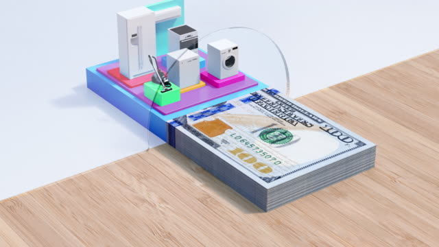 House Appliances Loan - Dollar Credit - 4K Resolution Major Household Appliance, Loan, Banking, Dollar Sign, Currency appliance stock videos & royalty-free footage