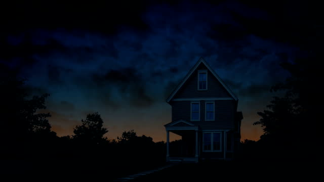 House At Daybreak With Orange Sky video