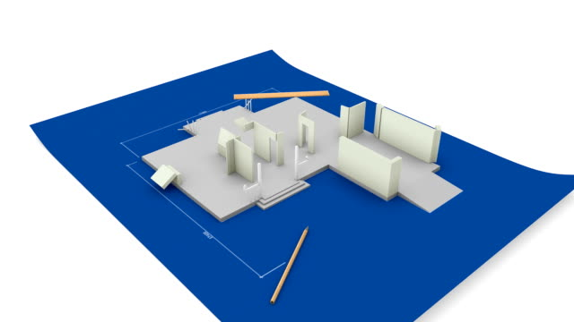 House being built on a blueprint paper. video