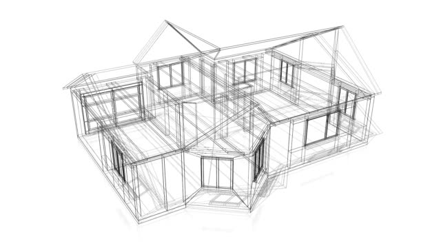 3D house construction - wire frame 3D house construction - wire frame. Great for topics like construction site, architecture etc. wire frame model stock videos & royalty-free footage