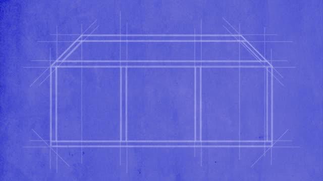 House drawn on blueprint video