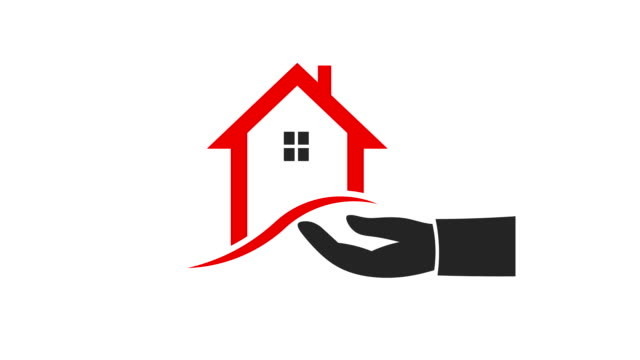 House in Hand Video Animation Realtor Person Hnad Showing House housing logo stock videos & royalty-free footage