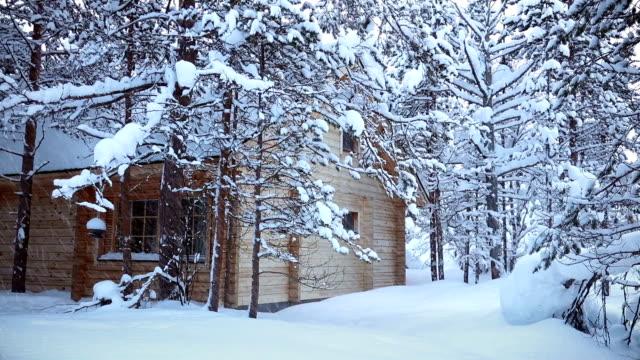 haus im wald und schneefall. nahtlose schleife - landhaus stock-videos und b-roll-filmmaterial