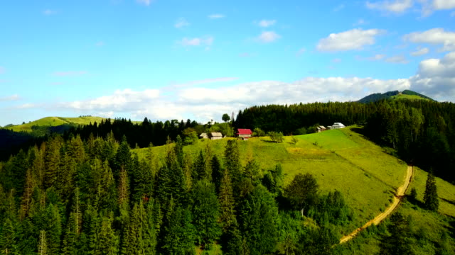 House in the mountains Carpathians, Aerial view, Ukraine. Drone flight video