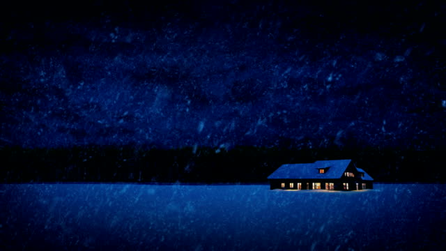 house lit up in winter landscape - barns stock videos & royalty-free footage