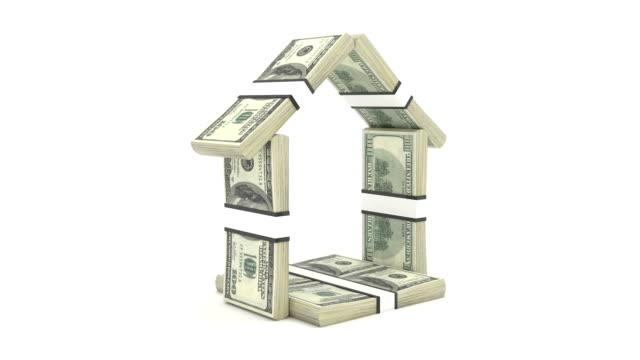 vidéos et rushes de maison en argent liquide isolé. rendu 3d - vendre