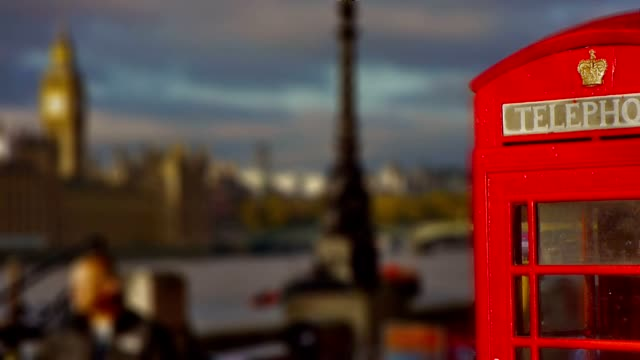 House of Parliament with a red British phone booth video