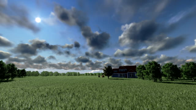 House on green meadow and horses, timelapse clouds House on green meadow and horses, timelapse clouds paddock stock videos & royalty-free footage