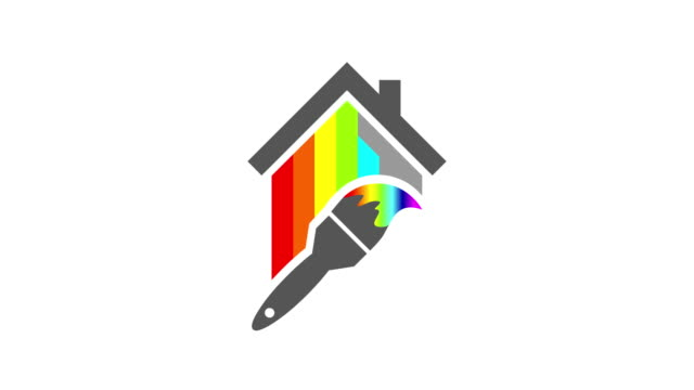 House painter and paint brush concept House painter concept with paint brush painting the walls of it in any color as a symbol of the color spectrum. Animation on white background. housing logo stock videos & royalty-free footage