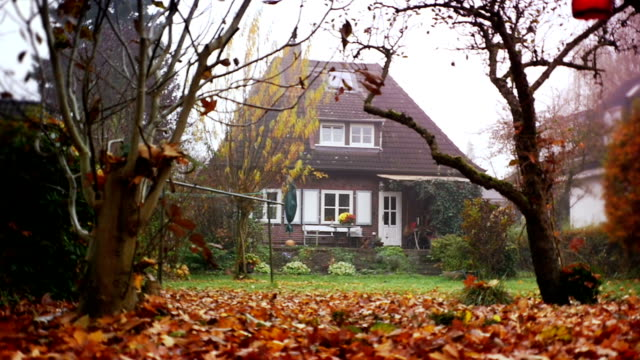 House, Red Brick Family Home and autumn back yard video
