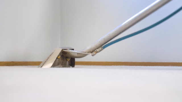 housekeeping closeup. spot cleaning wash soak with steam vacuum - moquette video stock e b–roll