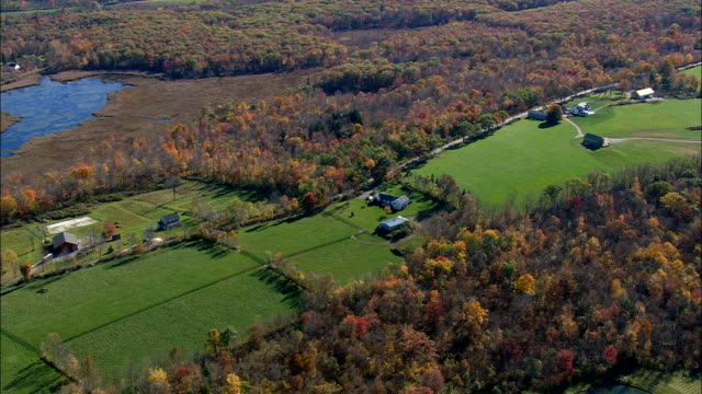 Houses And Farms In Litchfield County  - Aerial View - Connecticut,  Litchfield County,  United States video