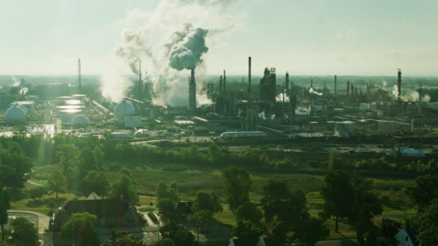 Houses and Park Beside Huge Oil Refinery in East Toledo, Ohio - Aerial video