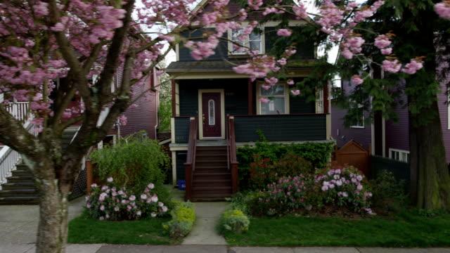 houses blossoms 03 - samhörighet bildbanksvideor och videomaterial från bakom kulisserna