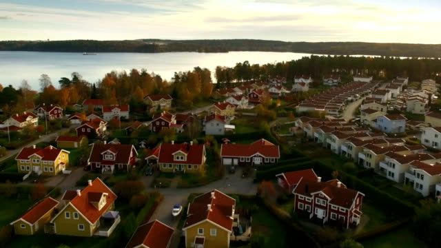 Houses in Sweden Ariel view of houses in Sweden coastal feature stock videos & royalty-free footage
