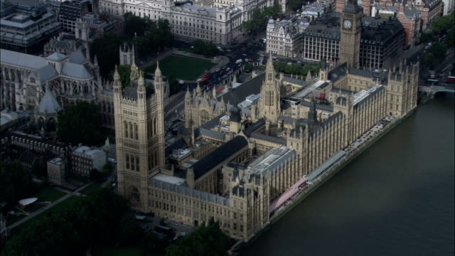 Houses Of Parliament  - Aerial View - England, Greater London, City of Westminster, United Kingdom Houses of Parliament palace stock videos & royalty-free footage