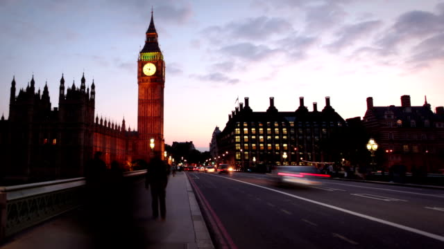 Houses Of Parliament and Big Ben at dusk, London video