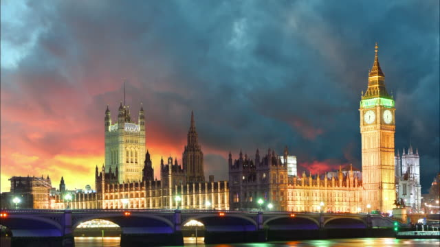 Houses of parliament - Big ben, London, UK, Time lapse video
