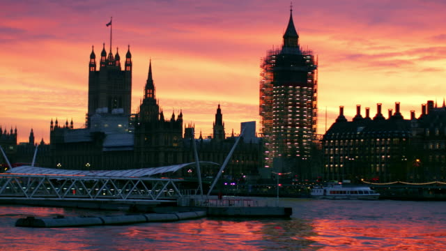 Houses Of Parliament With Scaffolding At Sunset video