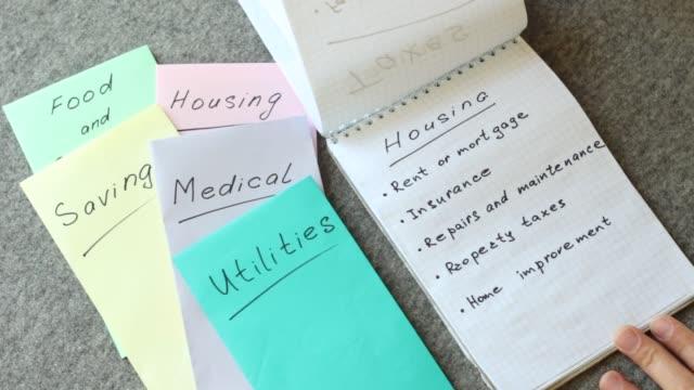 vídeos y material grabado en eventos de stock de gastos de vivienda (alquiler, hipoteca, seguros, impuestos a la propiedad, reparación) - planificación financiera