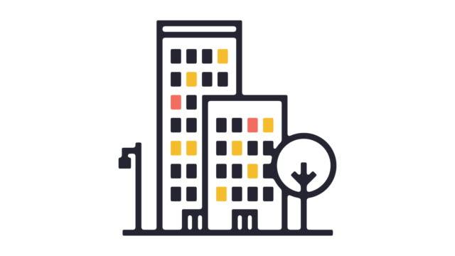 vidéos et rushes de logement ligne icône animation - hlm