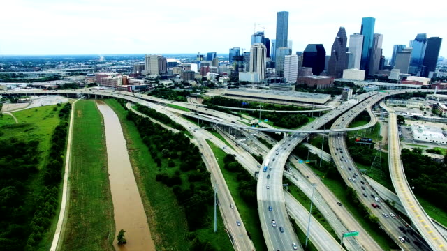 Houston Over Polluted Smog Cityscape Highways dirty water Aerial Looking down on Dirty America video