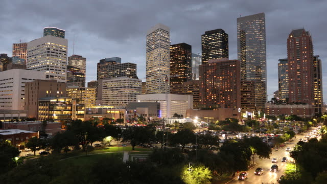 Skyline de Houston Texas en la noche - vídeo