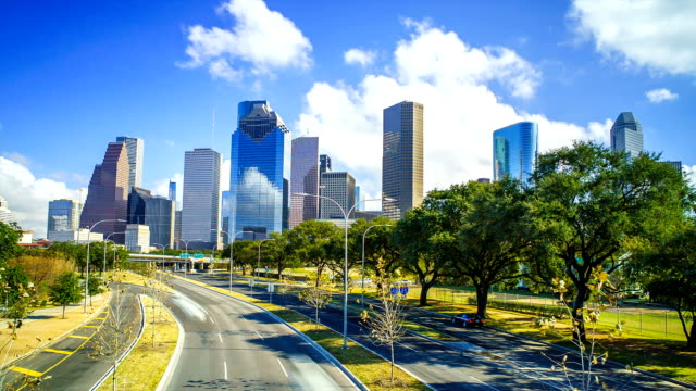 houston texas skyline clouds time lapse - city skylines stock videos & royalty-free footage