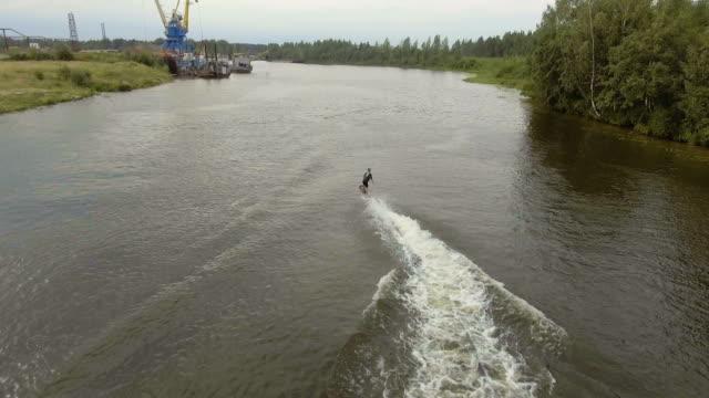 Hover board rider.Fly board rider.Aerial video video