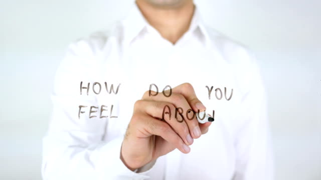 How Do You Feel About Your Job ?, Businessman Writing on Glass video