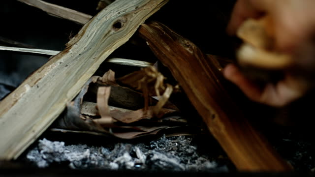 How to quickly start a Fire in a Fireplace using Birch Bark How to quickly start a Fire in a Fireplace using Birch Bark firewood stock videos & royalty-free footage