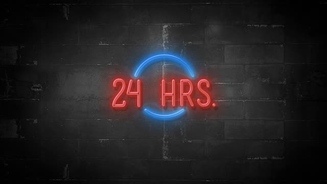 24 Hrs Message on Flickering Neon Sign in 4K Resolution