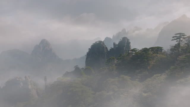 Huangshan - Yellow Mountain -  peaks with mist