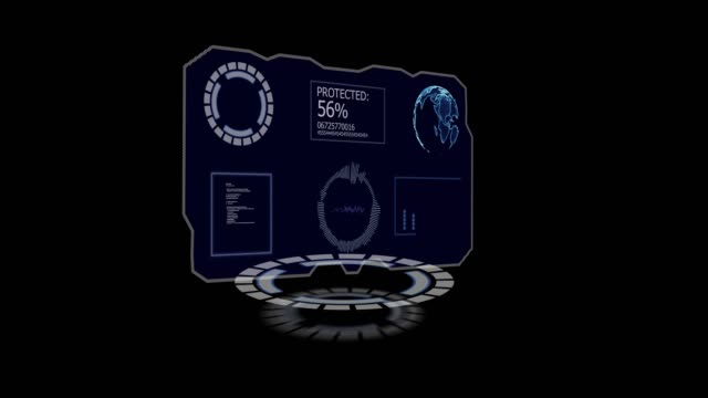 Hud data protect display with black screen Hud data protect display with black screen. Footage good for hologram effect or techno review on video. Contains circles, hacking code, percents, waves and globe of earth hologram stock videos & royalty-free footage