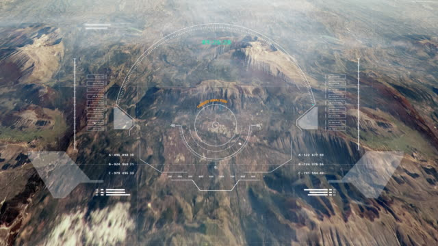 Hud Futuristic Aerial Surveillance Flyover Mystery Mountain for Enemy Target Checking. Hud Futuristic Aerial Surveillance Flyover Mystery Mountain for Enemy Target Checking. Digital Ui Security Technology Landscape Scanning 4k Motion control stock videos & royalty-free footage