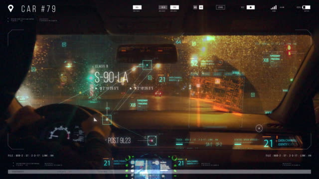 Hud panel and Sensors monitor the driver while driving on the highway. Hud panel and Sensors monitor the driver while driving on the highway. dashboard vehicle part stock videos & royalty-free footage