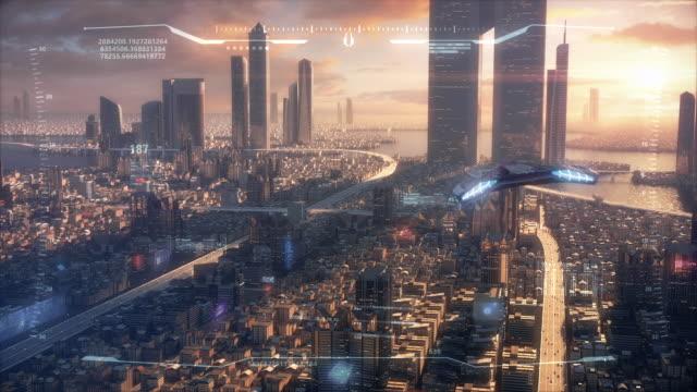stockvideo's en b-roll-footage met 3d hud sunset city van de toekomst - futuristisch