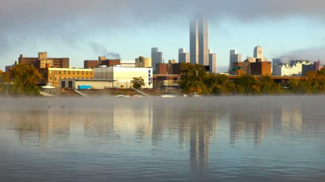 Hudson River Fog and the Albany New York skyline video