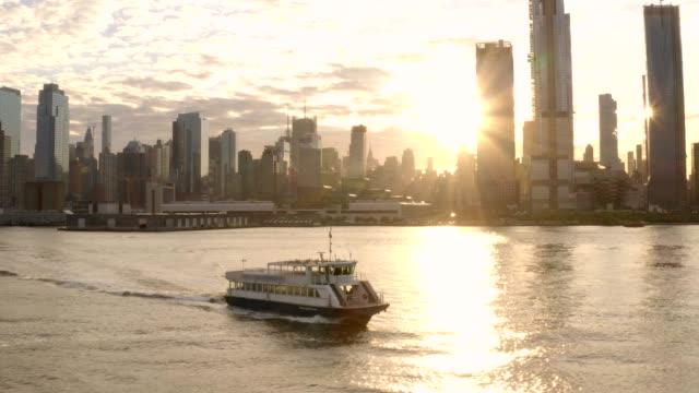 Hudson River Manhattan Sunrise 4K