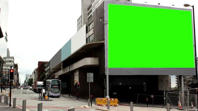 Huge advertising billboard in the city - Green screen video