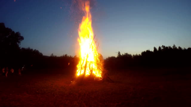 Huge campfire Huge campfire in a open place bonfire stock videos & royalty-free footage