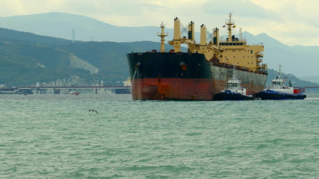 huge cargo ship enters the port with the help of tugboats video