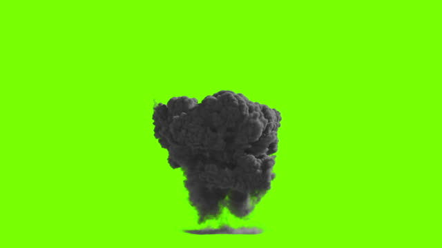 Huge dust explosion on green screen video