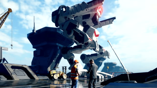 A huge military robot on a futuristic military training ground. An apocalyptic view of the technology of the future.